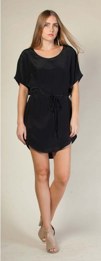 Black Shorts Sleeve Jewel Neck Silk Dress by Lavender Brown - 1