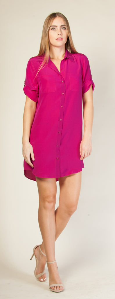 Purple Short Sleeve Silk Shirt Dress by Lavender Brown - 1