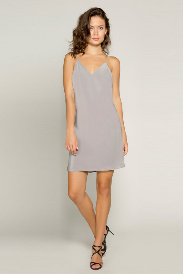 Grey Sleeveless Open Back Silk Dress by Lavender Brown 001