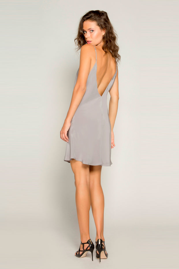 Grey Sleeveless Open Back Silk Dress by Lavender Brown 002