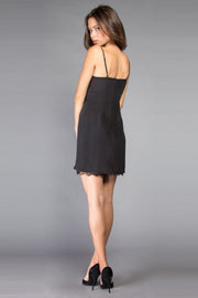 Black Backless Silk Wrap Dress by Lavender Brown 002