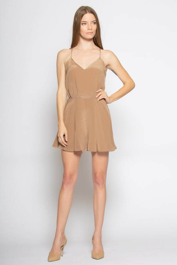 Brown Sleeveless Racerback Silk Romper by Lavender Brown 001