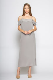 Grey Off The Shoulder Silk Maxi Dress by Lavender Brown 001