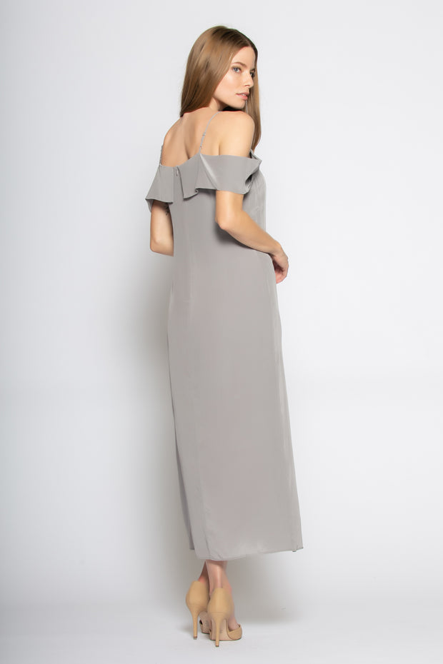 Grey Off The Shoulder Silk Maxi Dress by Lavender Brown 002
