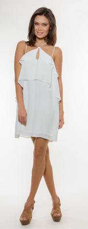 Ivory Overlay Silk Dress by Lavender Brown - 1