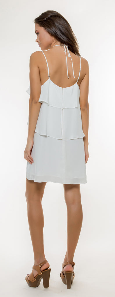 Ivory Overlay Silk Dress by Lavender Brown - 2