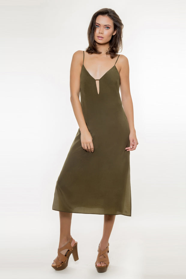 Olive Backless Silk Midi Dress by Lavender Brown 001