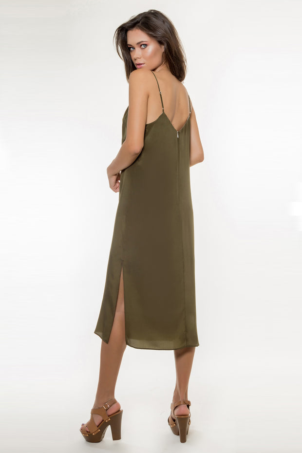 Olive Backless Silk Midi Dress by Lavender Brown 002