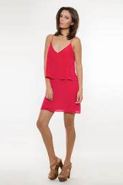 Violet Red Backless Overlay Silk Dress by Lavender Brown 001