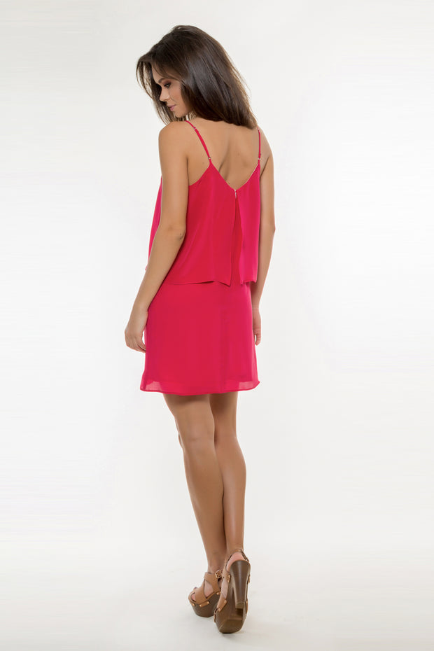 Violet Red Backless Overlay Silk Dress by Lavender Brown 002