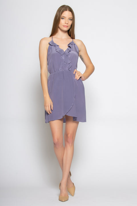 Lavender Sleeveless Silk Ruffle Wrap Dress by Lavender Brown 001