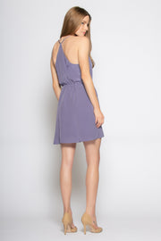 Lavender Sleeveless Silk Ruffle Wrap Dress by Lavender Brown 002