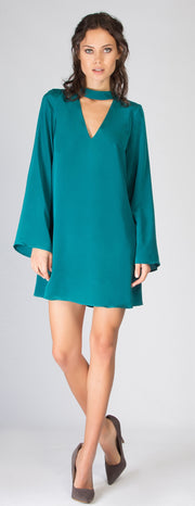 Emerald Green Long Sleeve Dress by Lavender Brown - 1