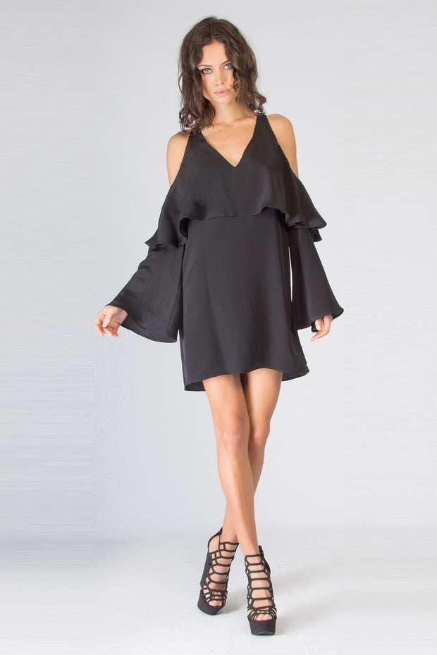 Black Cold Shoulder Overlay Silk Dress by Lavender Brown 001