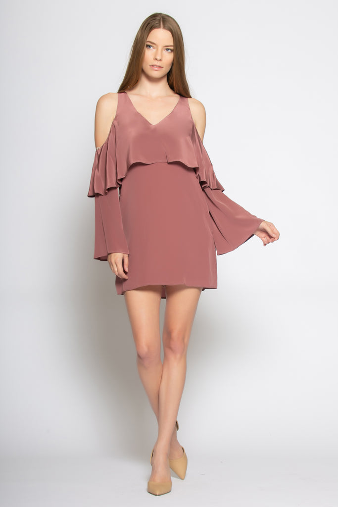Mulberry Cold Shoulder Overlay Silk Dress by Lavender Brown - 1