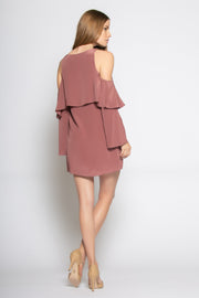 Mulberry Cold Shoulder Overlay Silk Dress by Lavender Brown 002