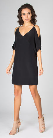 Black Short Sleeve Cold Shoulder Silk Dress by Lavender Brown - 1