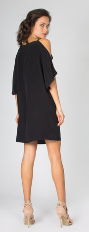 Black Short Sleeve Cold Shoulder Silk Dress by Lavender Brown - 2
