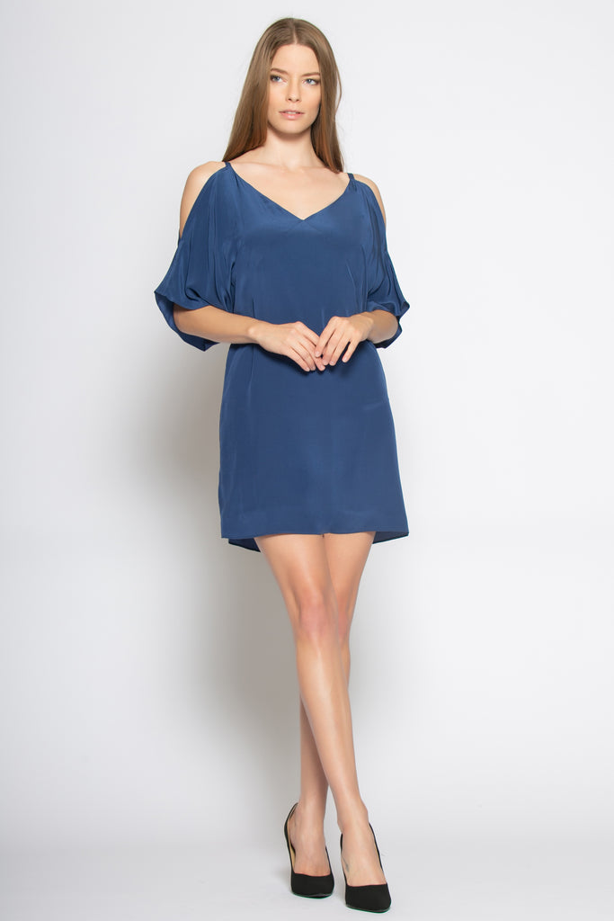 Navy Short Sleeve Cold Shoulder Silk Dress by Lavender Brown - 1