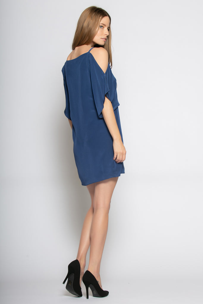 Navy Short Sleeve Cold Shoulder Silk Dress by Lavender Brown - 2