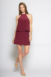 Burgundy Sleeveless Overlay Silk Dress by Lavender Brown 001