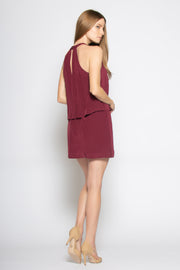 Burgundy Sleeveless Overlay Silk Dress by Lavender Brown 002