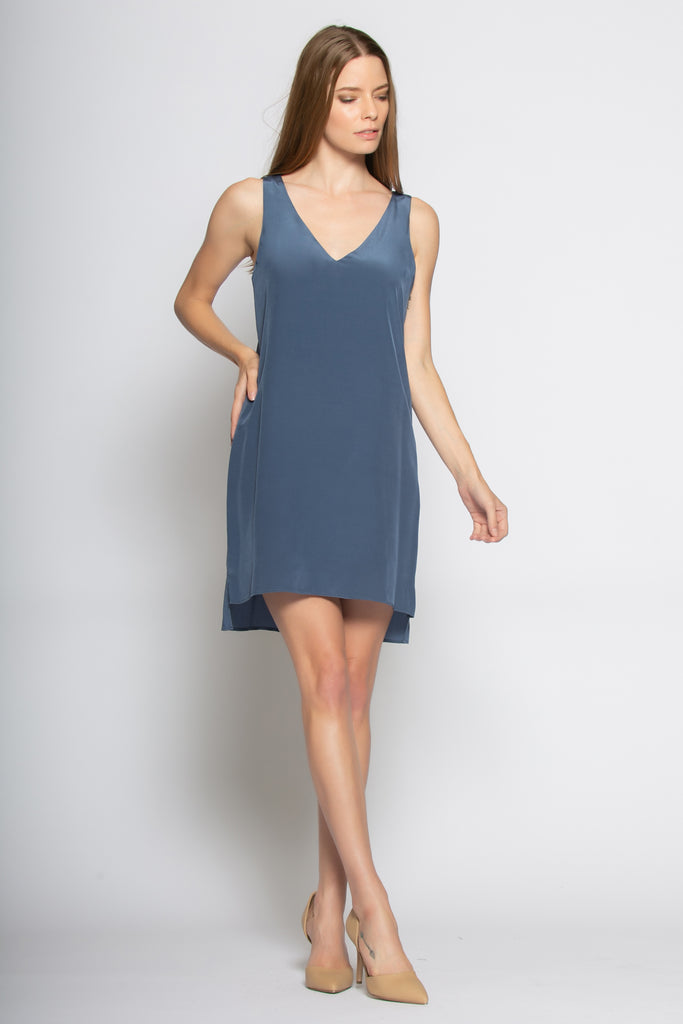 Denim Blue Sleeveless Silk Shift Dress by Lavender Brown - 1