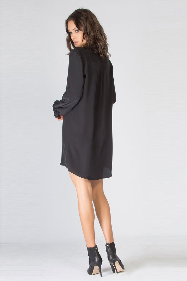 Black Long Sleeve Button Down Silk Dress by Lavender Brown 002