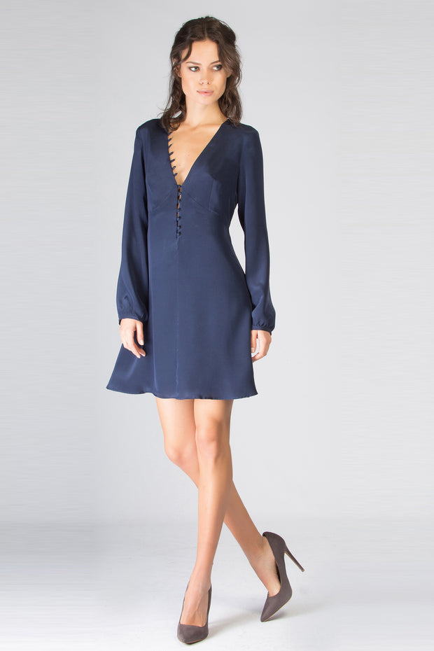 Navy Long Sleeve Button Down Silk Dress by Lavender Brown 001