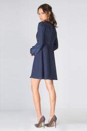 Navy Long Sleeve Button Down Silk Dress by Lavender Brown 002