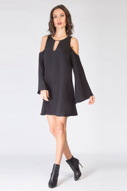 Black Cold Shoulder Silk Dress by Lavender Brown 001