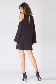Black Cold Shoulder Silk Dress by Lavender Brown 002