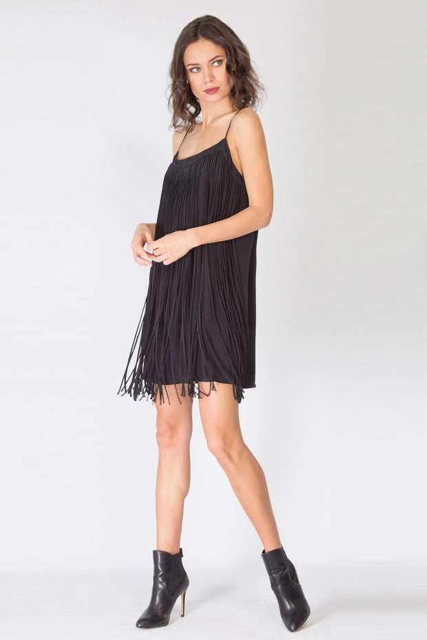Black Sleeveless Fringe Silk Dress by Lavender Brown 001