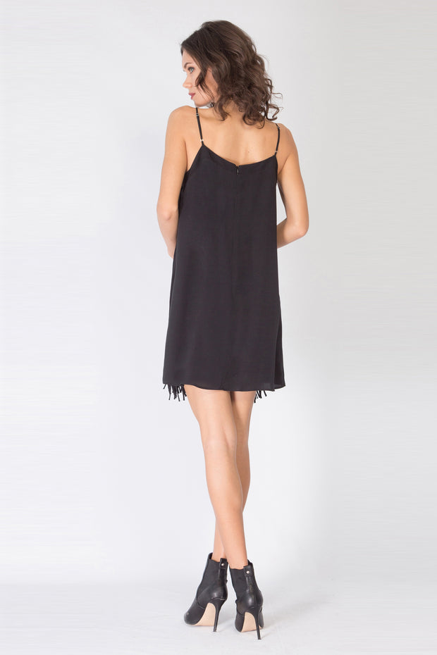 Black Sleeveless Fringe Silk Dress by Lavender Brown 002