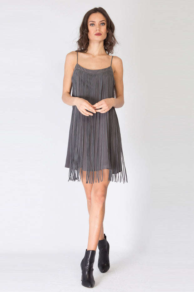 Charcoal Sleeveless Silk Fringe Dress by Lavender Brown 001