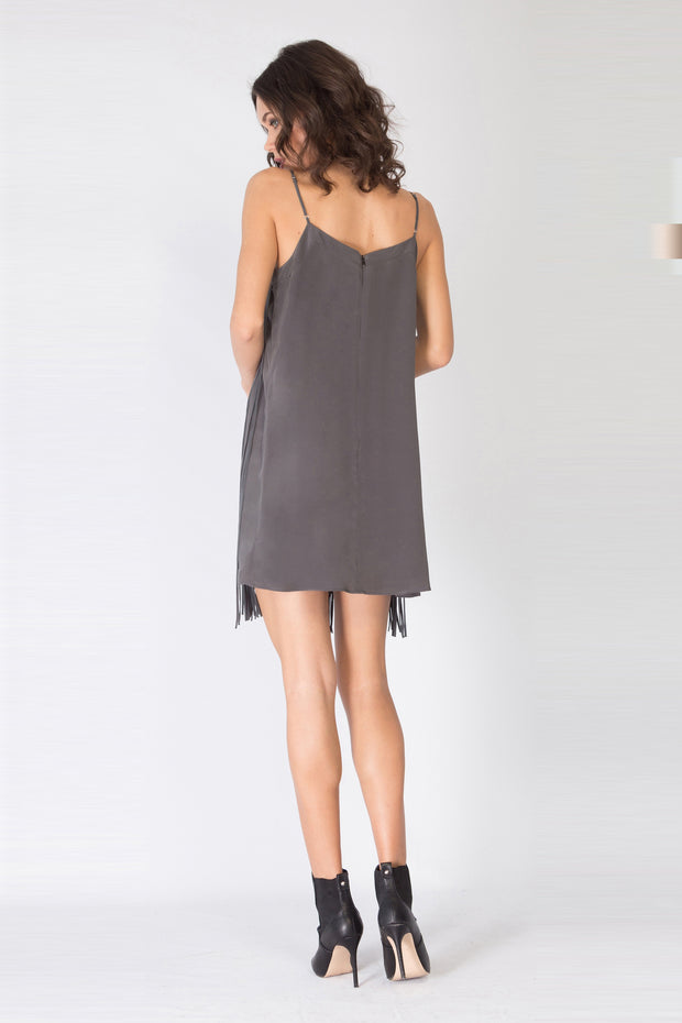 Charcoal Sleeveless Silk Fringe Dress by Lavender Brown 002