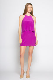 Plum Overlay Silk Shift Dress by Lavender Brown 001