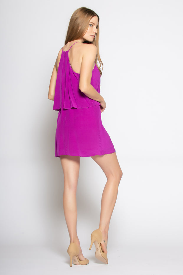 Plum Overlay Silk Shift Dress by Lavender Brown 002