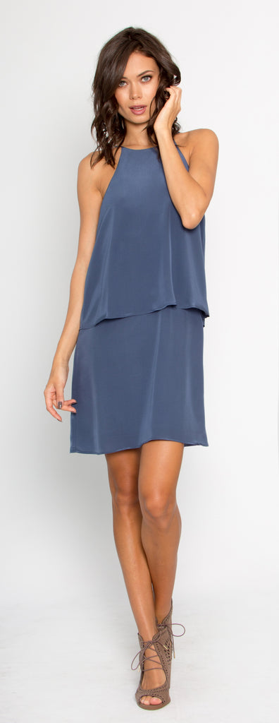 Denim Blue Overlay Silk Shift Dress by Lavender Brown - 1