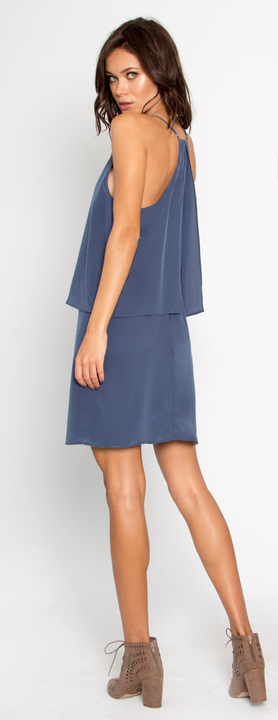 Denim Blue Overlay Silk Shift Dress by Lavender Brown - 2