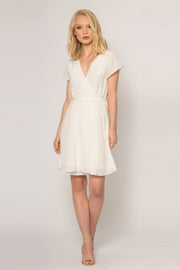 Ivory Short Sleeve Silk Wrap Dress by Lavender Brown 001