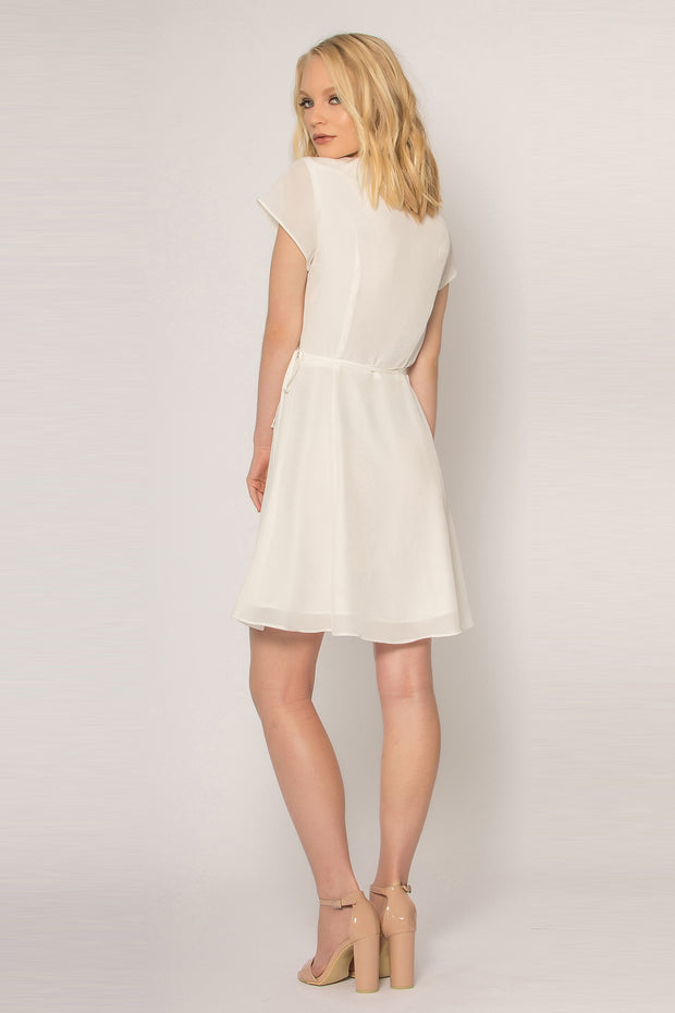 Ivory Short Sleeve Silk Wrap Dress by Lavender Brown 002