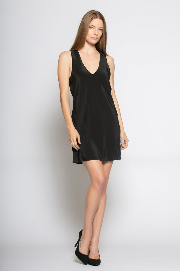 Black Sleeveless V Neck Silk Dress by Lavender Brown 001