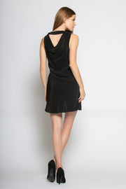 Black Sleeveless V Neck Silk Dress by Lavender Brown 002