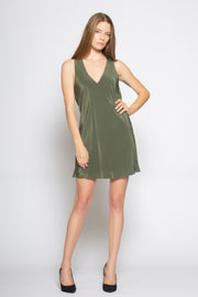 Utility Green Sleeveless V Neck Silk Dress by Lavender Brown 001