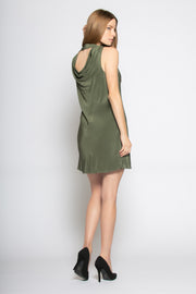 Utility Green Sleeveless V Neck Silk Dress by Lavender Brown 002