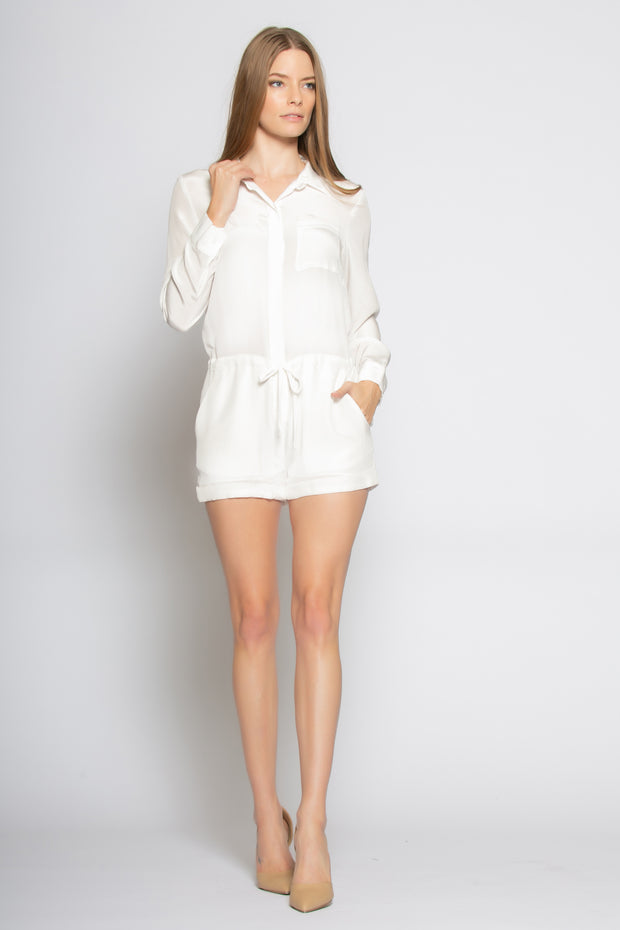 Ivory Long Sleeve Silk Romper by Lavender Brown 001