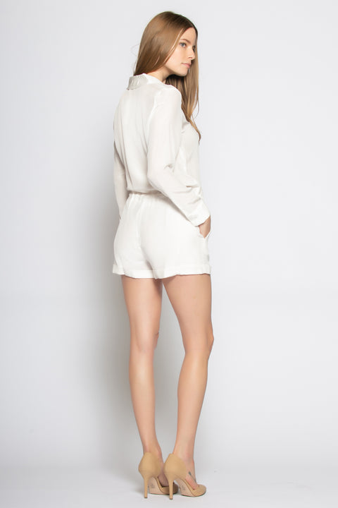 Ivory Long Sleeve Silk Romper by Lavender Brown 002