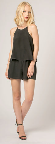 Black Overlay Jewel Neck Silk Romper by Lavender Brown - 1
