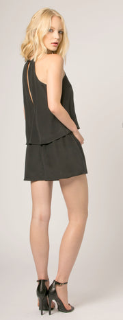 Black Overlay Jewel Neck Silk Romper by Lavender Brown - 2